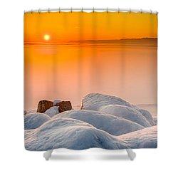 Lake Pepin Winter Sunrise Shower Curtain by Mark Goodman