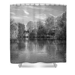 Lake Reflections Mono Shower Curtain