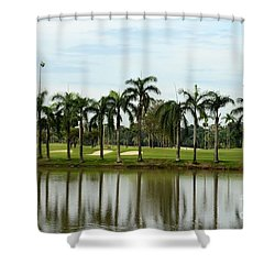 Lake Sand Traps Palm Trees And Golf Course Singapore Shower Curtain by Imran Ahmed