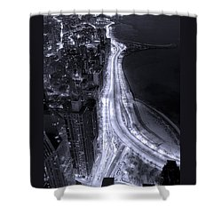 Lake Shore Drive Aerial  B And  W Shower Curtain by Steve Gadomski