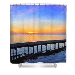 Lake Sunrise - Watercolor Shower Curtain