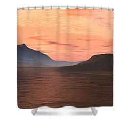 Shower Curtain featuring the digital art Lake Sunset 1 by Judi Suni Hall