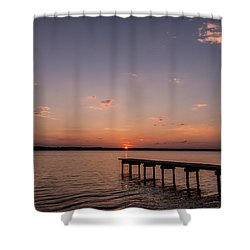 Lake Sunset Over Pier Shower Curtain