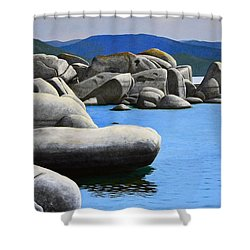 Lake Tahoe Rocky Cove Shower Curtain