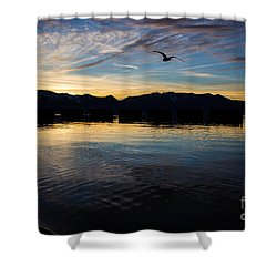 Lake Tahoe Sunset Shower Curtain by Suzanne Luft