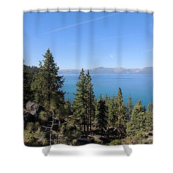 Lake Tahoe Through The Trees Shower Curtain