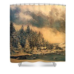 Shower Curtain featuring the painting Lake Tahoe Winter Colors 2 by Donna Tucker