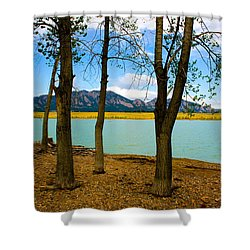 Lake Through The Trees Shower Curtain by Juli Ellen