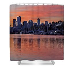 Lake Union Dawn Shower Curtain by Mike Reid