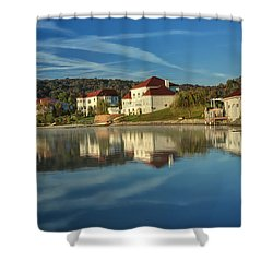 Lake White Morning Shower Curtain