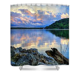 Shower Curtain featuring the photograph Lake White Sundown by Jaki Miller