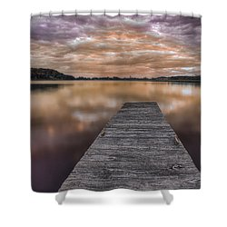 Lake White Twilight Shower Curtain