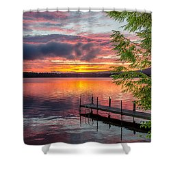 Lake Winnisquam Sunrise 2 Shower Curtain by Mike Ste Marie