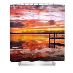 Lake Winnisquam Sunrise Shower Curtain by Mike Ste Marie