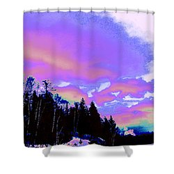 Winter  Snow Sky  Shower Curtain by Expressionistart studio Priscilla Batzell