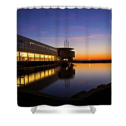 Lakefront Sunrise Shower Curtain by Jonah  Anderson