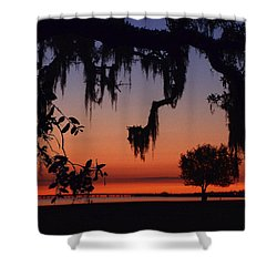 Lakefront Sunset Shower Curtain by Charlotte Schafer