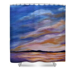Shower Curtain featuring the painting Lakeside Sunset by Michelle Joseph-Long