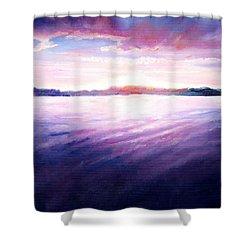 Lakeside Sunset Shower Curtain by Shana Rowe Jackson