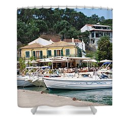 Lakka Harbour On Paxos Shower Curtain
