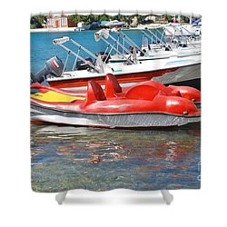 Lakka Harbour Paxos Shower Curtain