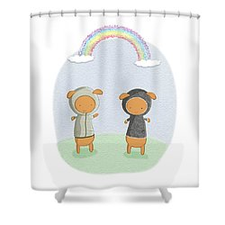 Lamb Carrots Cute Friends Under A Rainbow Illustration Shower Curtain