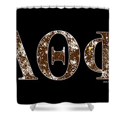 Shower Curtain featuring the digital art Lambda Theta Phi - Black by Stephen Younts