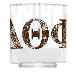 Shower Curtain featuring the digital art Lambda Theta Phi - White by Stephen Younts