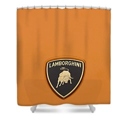 Lambo Hood Ornament Orange Shower Curtain by Scott Campbell
