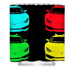 Lambo Pop Art Shower Curtain by J Anthony