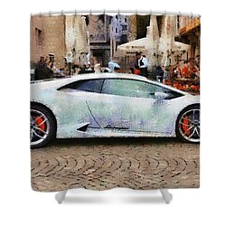 Lamborghini Huracane Lp 610-4 Parked In The City Shower Curtain