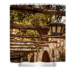 Lamps At The Alamo Shower Curtain by Melinda Ledsome