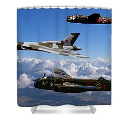 Lancaster Bombers And Vulcan Xh558 Shower Curtain