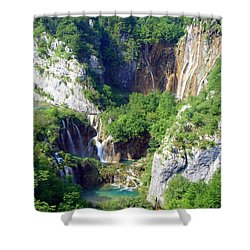 Land Of Falling Lakes Shower Curtain