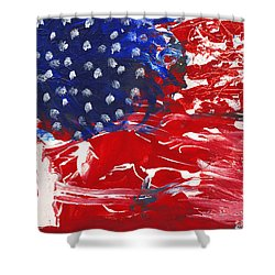 Land Of Liberty Shower Curtain by Luz Elena Aponte