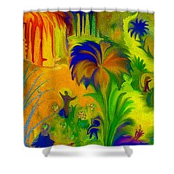 Shower Curtain featuring the digital art Land Of Little Peeps by Sherri  Of Palm Springs