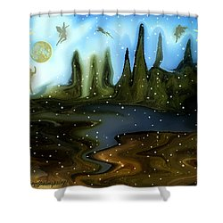 Shower Curtain featuring the painting Land Of The Fairies  For Kids by Sherri  Of Palm Springs
