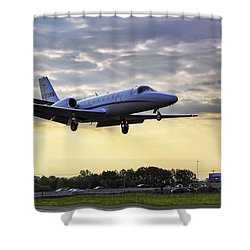 Landing At Sunrise Shower Curtain