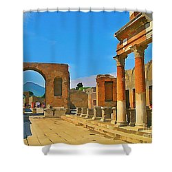Landscape At Pompeii Italy Ruins Shower Curtain by John Malone