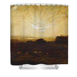 Landscape At Sunset Shower Curtain by Marie Auguste Emile Rene Menard