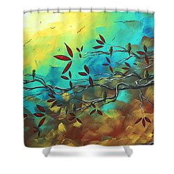 Landscape Bird Original Painting Family Time By Madart Shower Curtain by Megan Duncanson