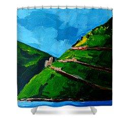 Landscape Castle Along The River Rhine Shower Curtain by Patricia Awapara