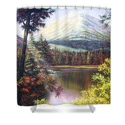 Shower Curtain featuring the painting Landscape-lake And Trees by Loxi Sibley