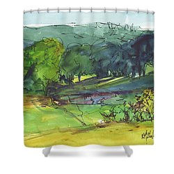 Landscape Lakeway Texas Watercolor Painting By Kmcelwaine Shower Curtain by Kathleen McElwaine