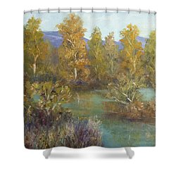 Landscape River And Trees Paintings Shower Curtain