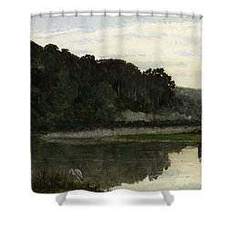 Landscape With Heron Shower Curtain by William Frederick Yeames