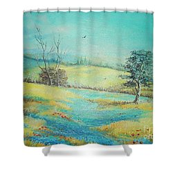 Shower Curtain featuring the painting Landscape With Lavanda  by Sorin Apostolescu