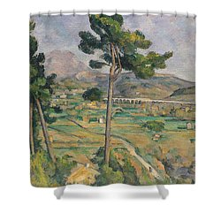 Landscape With Viaduct Shower Curtain by Paul Cezanne
