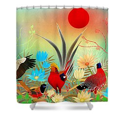 Landscapes With Birds And Red Sun - Limited Edition Of 15 Shower Curtain