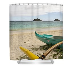 Lanikai Beach Outrigger 2 - Oahu Hawaii Shower Curtain by Brian Harig